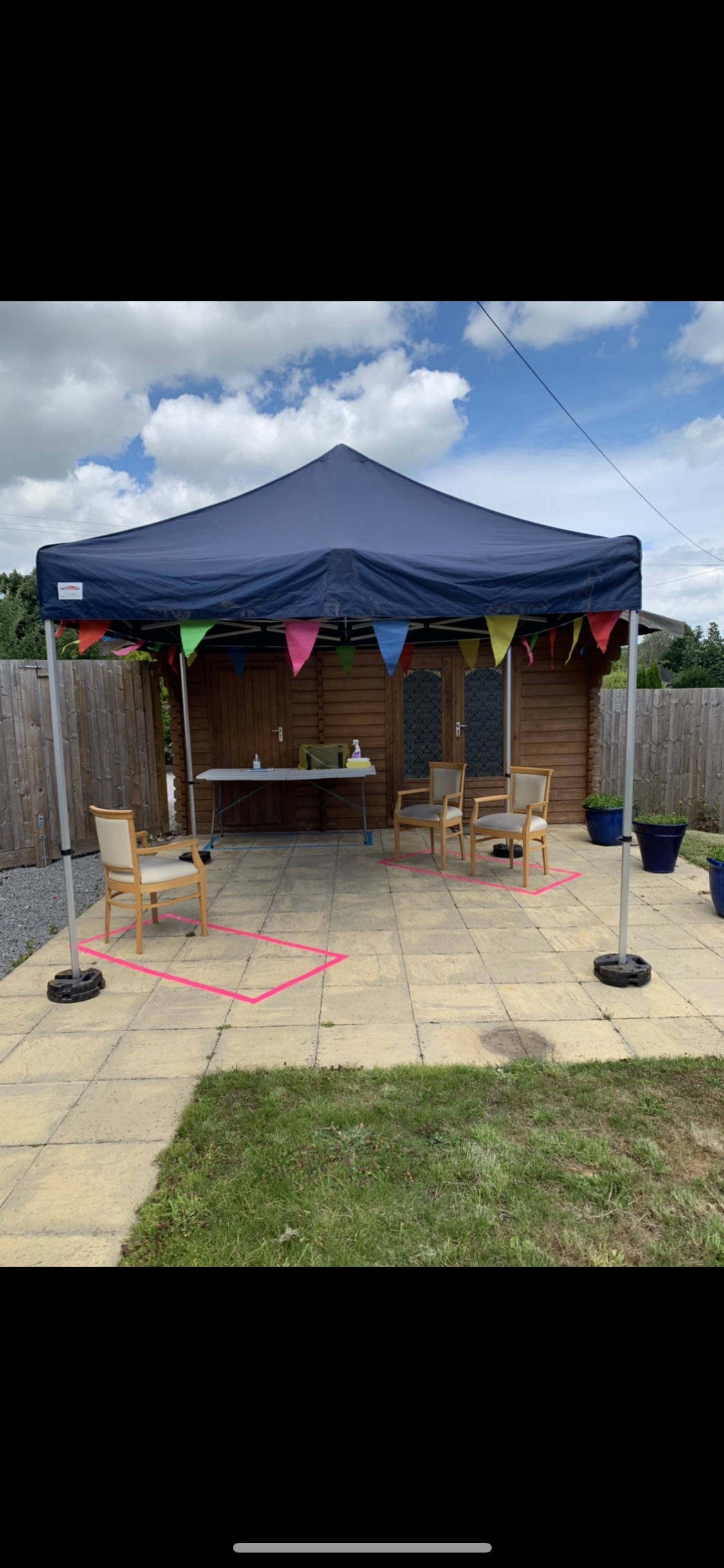 Outdoor visiting area at Crick Care Home in Caldicot